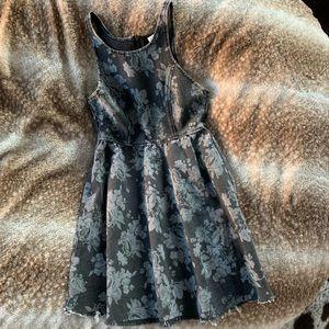 Grey denim floral dress